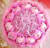 ブタちゃん 11匹 バラ 19輪 お祝い アニマル ブーケ ぬいぐるみ お祝い 結婚式 出産祝い 結婚 記念日 ギフト プレゼント(ピンク)