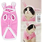 Bolbove Bro'Bear Plush Rabbit Outfit with Hood & Bunny Ears for Small Dogs & Cats Pink (Small)