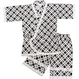 ガールズジュニア浴衣|甚平[Wa fume(ワ|フューム)]女の子レース付タータンチェック柄甚平上下セット|女児用 140cm ブラック