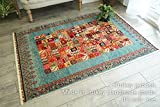 草木染羊毛 ウール 100% 天然素材 ギャベ トルコ製 手織り ラグ マット カーペット 絨毯 ラグマット ブルー 長方形 122x177cm