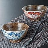 九谷焼 夫婦茶碗 椿
