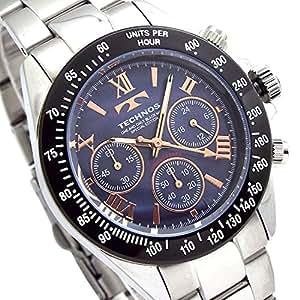 TECHNOS SPECIAL EDITION テクノス メンズ腕時計 天然シェルダイヤル クロノグラフ ベルト調節工具付き ブラック ネイビー T4601TH [並行輸入品]