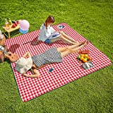 CHANODUG Machine Washable Extra Large Picnic & Beach Blanket Handy Mat Plus Thick Dual Layers Sandproof Waterproof Padding Po