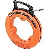 Klein Tools 56335 Fish Tape, 25-Foot 1/4-Inch Wide Spring Steel Tape, Slim Plastic Tip, Laser Etched 1-Foot Markings, Great f
