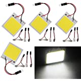 Everbright 4-Pack Super White New Energy-saving COB 48-SMD LED Panel Dome Lamp Auto Car Interior Reading Plate Light Roof Cei
