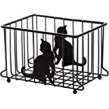 Lily's Home Cat Lovers Wire Storage Basket for for Kitchen, Pantry, Cabinet, Bathroom and Office Medium Black