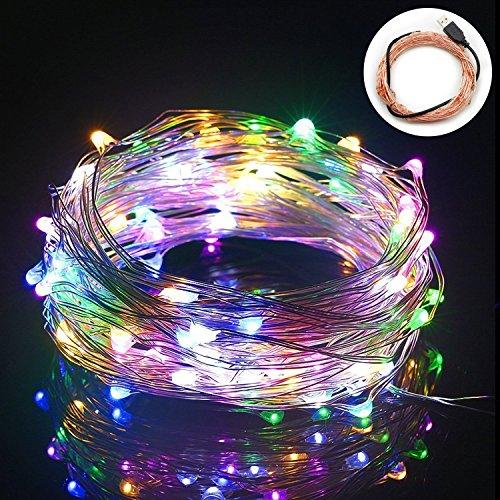 BIENNA イルミネーションライト LED USB式 銅線ワイヤー 電飾 飾り 装飾ライト LEDストリングライト 室内 室外 庭 祝日 結婚式 正月 クリスマス パーティ 10M/100球 防水 7色入れ(七色)