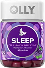 OLLY Sleep Gummy Vitamins with Melatonin, For Healthy Sleep Cycle, Chewable Supplement, 25 Day Supply, 50 count