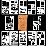 POPVCLY Bullet Journal Stencil Plastic Planner Stencils Journal/Notebook/Diary/Scrapbook Diy Drawing Template Stencil 4X7 Inch, 12 Pieces