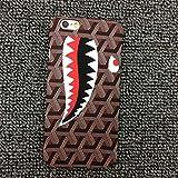 ゴヤール Next Method iPhone6 4.7インチ/6s 幾何学 デザイン ハード ケース エレガント ゴージャス ブランド チェック 格子 ラグジュアリー サメ シャーク (iPhone6 4.7インチ/6s, ブラウン)