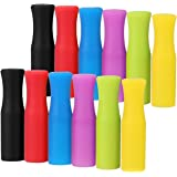 12PCS Silicone Straw Tips, Multicolored Food Grade Straws Tips Covers Only Fit for 1/4 Inch Wide(6MM Outdiameter) Stainless S