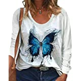 zeyubird Womens Casual Long Sleeve V Neck T Shirt Butterfly Graphic Printed Tops Fall Pullover Tee for Women