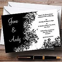 ブラックホワイト渦巻きPersonalizedウェディング招待状 20 Invitations