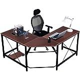 "DlandHome L-Shaped Computer Desk 59""+59"", Composite Wood & Metal, Home Office PC Laptop Study Workstation Corner Table with C"