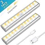 Under Cabinet Lighting, MOICO 3 Color Modes 20 LED Wireless Motion Sensor Closet Lights Rechargeable Magnetic Stick On Lights