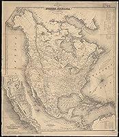 Historicマップ| 1852マップ北アメリカの|アンティークヴィンテージReproduction 36in x 44in 5131726_3644