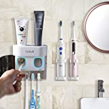 BesLife 2 Automatic Toothpaste Dispenser Wall Mounted, Come with 2 Electric Toothbrush Holder, with Dustproof Cover, 4 Toothb