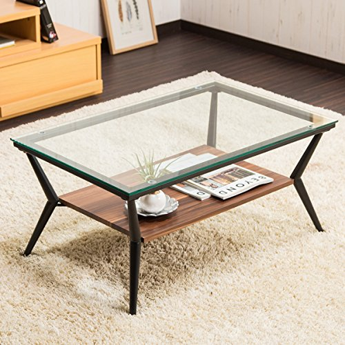 【センターテーブル ガラス 80cm幅】 北欧風 ガラステーブル 強化ガラス 木目 ディスプレイ棚付き 透明感 色:ダークブラウン