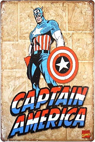 [해외]Captain America 캡틴 아메리카 양철 간판 20cm × 30cm 미국의 영웅 캐릭터 인테리어 용품/Captain America Captain America Tin Sign 20 cm × 30 cm American Hero Character Interior Accessory