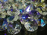 レインボー 八角 クリスタル ガラス ビーズ 14mm 20mm サンキャッチャー 材料 パーツ シャンデリア インテリア (14mm100個セット)