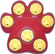 Yujeet ペット用おもちゃ 犬用知育玩具 ペット食器 スローフィーダー 早食い防止 健康 多機能 ボーン型 爪跡型 猫犬用品 赤い 25 * 25 * 4.5CM
