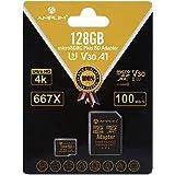 128GB Micro SD SDXC V30 A1 Memory Card Plus Adapter Pack (Class 10 U3 UHS-I MicroSD XC Extreme Pro) Amplim 128 GB Ultra High
