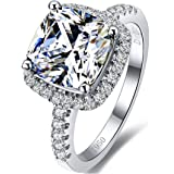 3MNSCD 18K White Gold Plated 3CT Zircon Cushion Halo Diamond Ring for Women Sterling Silver Jewelry