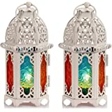 2 Pcs Moroccan Style Candle Lantern - Small Sized Tealight Candle Holder with Transparent Glass Panels Great for Patio, Indoo