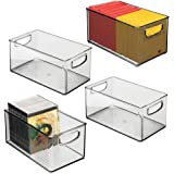mDesign Stackable Plastic Long Storage Bin Container with Carrying Handles for Office to Hold Gel Pens, Erasers, Tape, Pens,