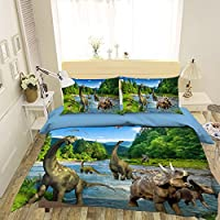 3D 恐竜の世界 112 寝具枕カバーキルト羽毛布団カバーセットシングルクイーンキング| 3D写真の寝具 Maze (シングル)