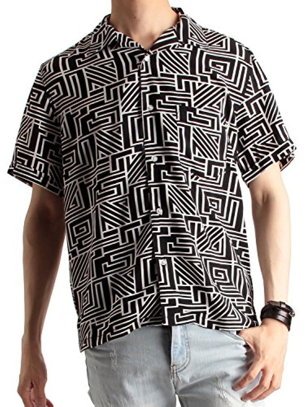 学校教育ほめるアンティーク(ラフタス) Rafftas 半袖 幾何学柄 オープンカラーシャツ メンズ 開襟シャツ 幾何学柄シャツ