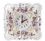 JEANNE ANTIQUE 置くだけで気分はプリンセス ヨーロピアン スタイル ロココ調 バラ 置時計 (パープルホワイト)