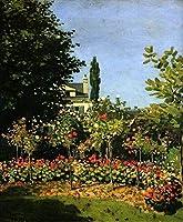手描き-キャンバスの油絵 - ガーデン in Flower Claude モネ印象派の花 芸術 作品 洋画 FRIM1 -サイズ02