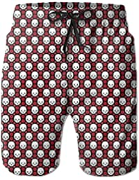 メンズ赤い花 可愛い髑髏 ビーチパンツ 水着 ハーフスイムウェアサーフパンツ ボードショーツ 水陸両用 吸汗速乾