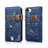 iphone7 iphone7 plus スマートフォン ケース Bpowe PUデニム ベルトケース スタンド機能 耐衝撃 手帳型 スタンド カード 収納 対応 Apple iphone 7 iphone7 plus (iPhone7)