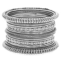 Aheli Indian Traditional Antique Oxidized Bohemian Bangles Set Womens Ethnic Party Wear Jewelry (Silver)