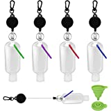 DARUNAXY 4 PCS Travel Plastic Clear Keychain Refillable Bottles With Stretchable Lanyard Portable Travel bottles Empty Squeez