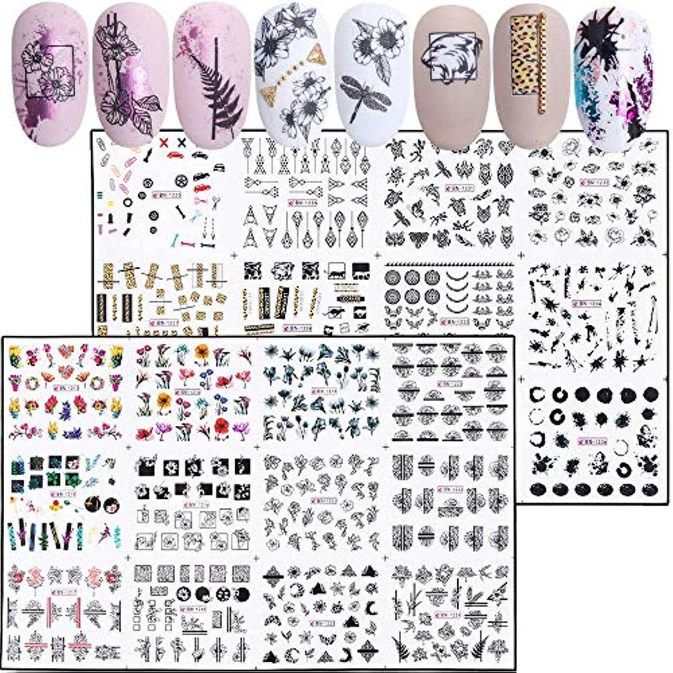 シルエット平野音楽家SUKTI&XIAO ネイルステッカー 24ピース混合花セクシーなネイルステッカーセット夏の手紙デカールネイルアート水転写スライダーマニキュア
