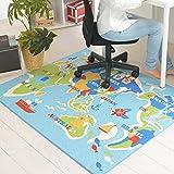 なかね家具 デスクカーペット 男の子 女の子 ラグマット 洗える 世界地図 ホットカーペット対応 110x133 ブルー 175puranet