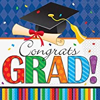 Striped Graduation Party Lunch Napkins, 16ct