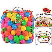 Joyin Toy 200 個入り プラスチック製ボール 折り畳み式 ベビーサークル付き - BPA フリー 明るい 6 色のボール ボールプール付き 耐久性があり、繰り返し使用可能なメッシュバッグ付き チャック式