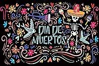 GooEoo Dia de Muertos背景5 x 3フィートビニール写真の背景メキシコソンブレロ頭蓋骨スケルトン花柄装飾黒背景