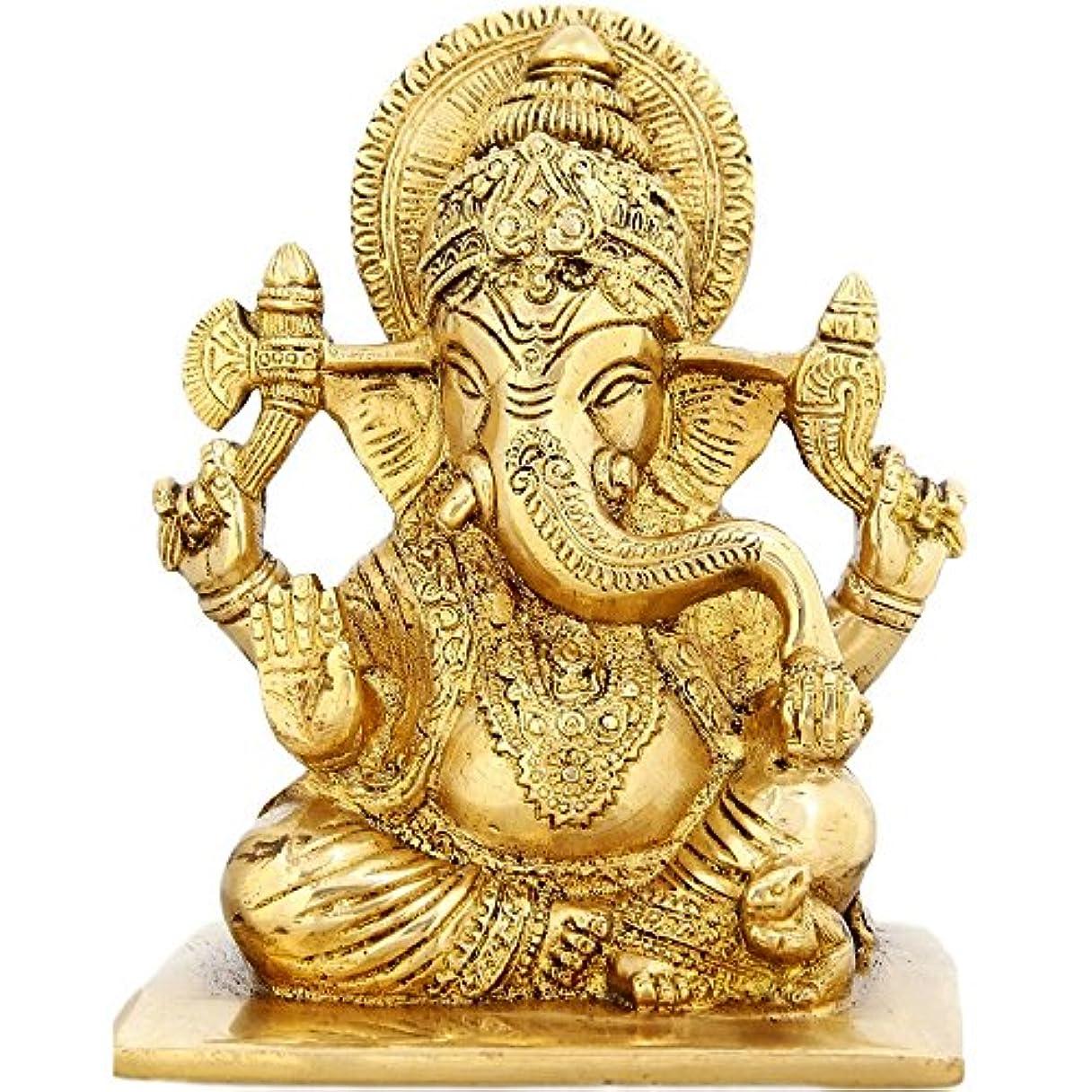 許可不完全アンペアSeatedガネーシャ神宗教ギフト真鍮彫刻for Mom 6インチ、weight-1.9 KG
