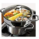"HOMI CHEF 5QT LARGE 4.5"" DEEP 3-RIDGE Universal Steamer Cookware (Nickel Free Stainless Steel, 3 Ridges for 8""/ 9""/ 9.5"" Pot)"
