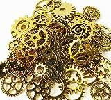 (bmb雑貨) 歯車 チャーム アソート 多種類 約70個 金古美 アンティーク 金色 レジン チャーム 素材 材料