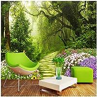山笑の美 新鮮なオリジナルの森の小道3Dテレビソファ壁カスタム大壁画緑の壁紙-120X100CM