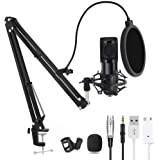 Computer Microphone, Gaming Mic with Adjustable Boom Arm Stand, USB PC Microphone for Video Recording Studio Streaming Extern