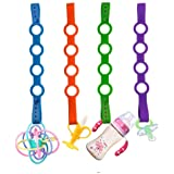 4PK Toy Safety Straps, Stretchable Silicone Pacifier Clips Baby Toddler Bottle Toy Harness Straps for Strollers, High Chair,