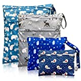 Washable and Reusable Wet Bag, Diaper Bag, Water Resistant Swimming Bag, Travel Toiletries Pouch, Yoga Gym Bag, Polar Bear Penguin Sea Lion and Winter Animal 4 Pcse