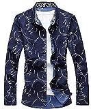 CEEN 2017 春秋 ファション メンズ 長袖シャツ カジュアル 注目された 男性用シャツ 花柄 おしゃれ 大きいサイズ